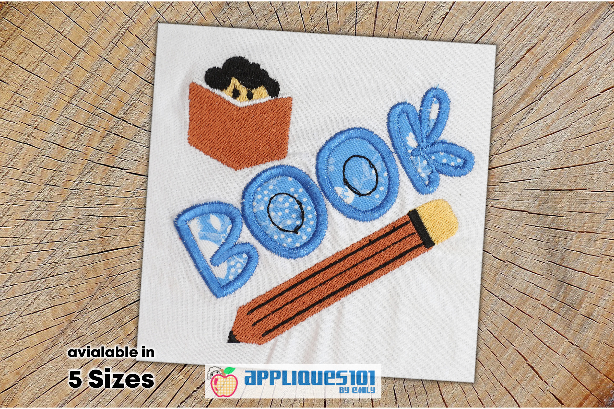 Book and Pencil Machine Embroidery Applique Design - Books example image 1