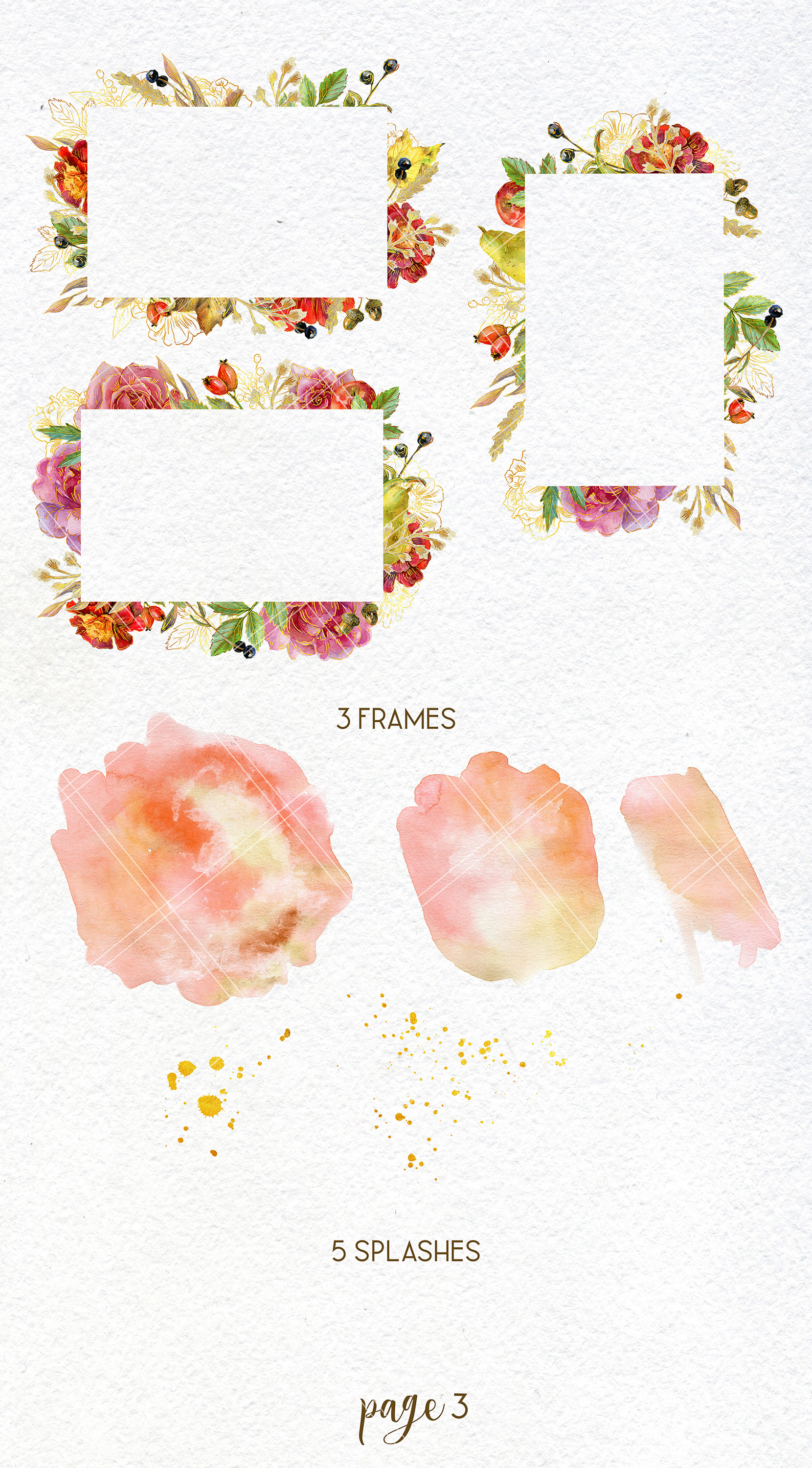Watercolor autumn bouquets and wreaths example image 4