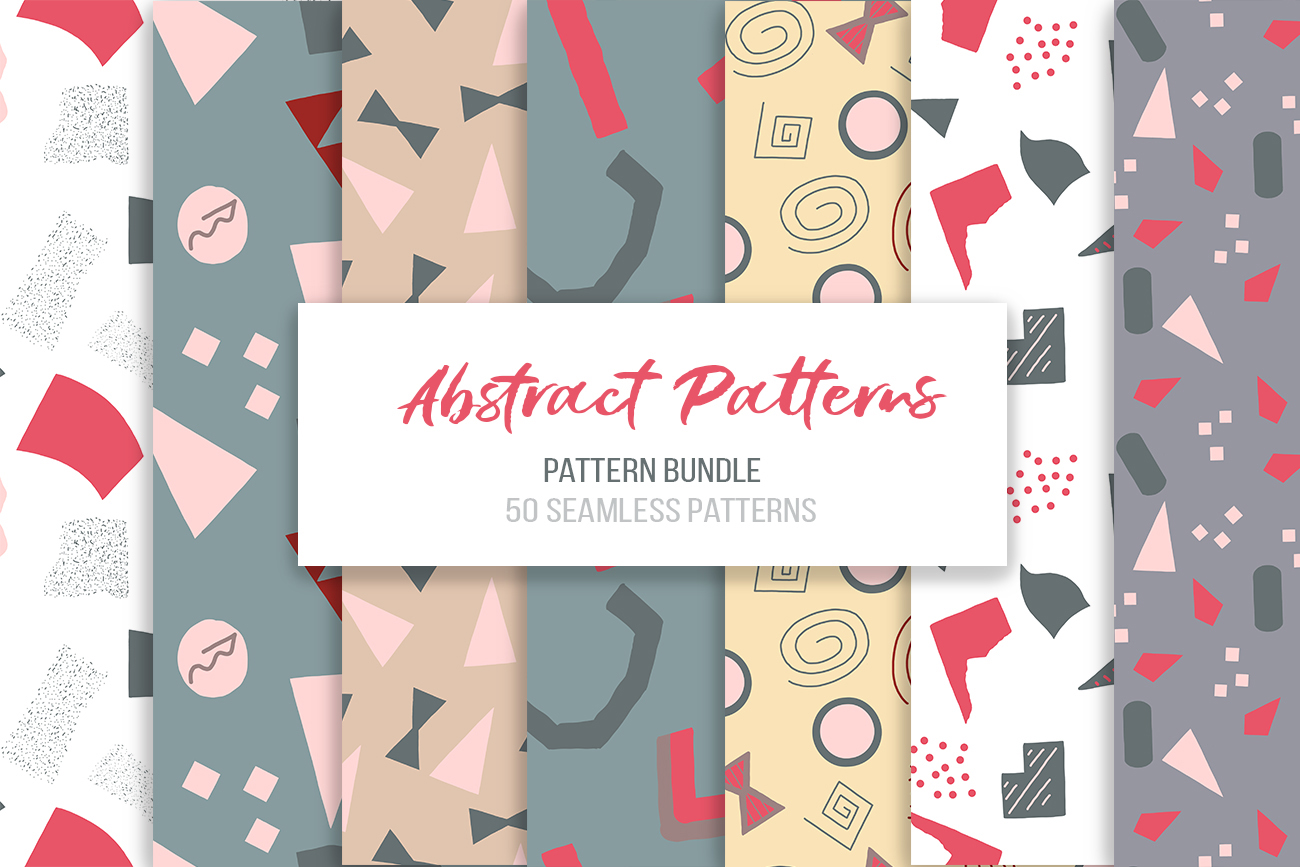 Abstract vector patterns. Big geometric collection, seamless example image 12