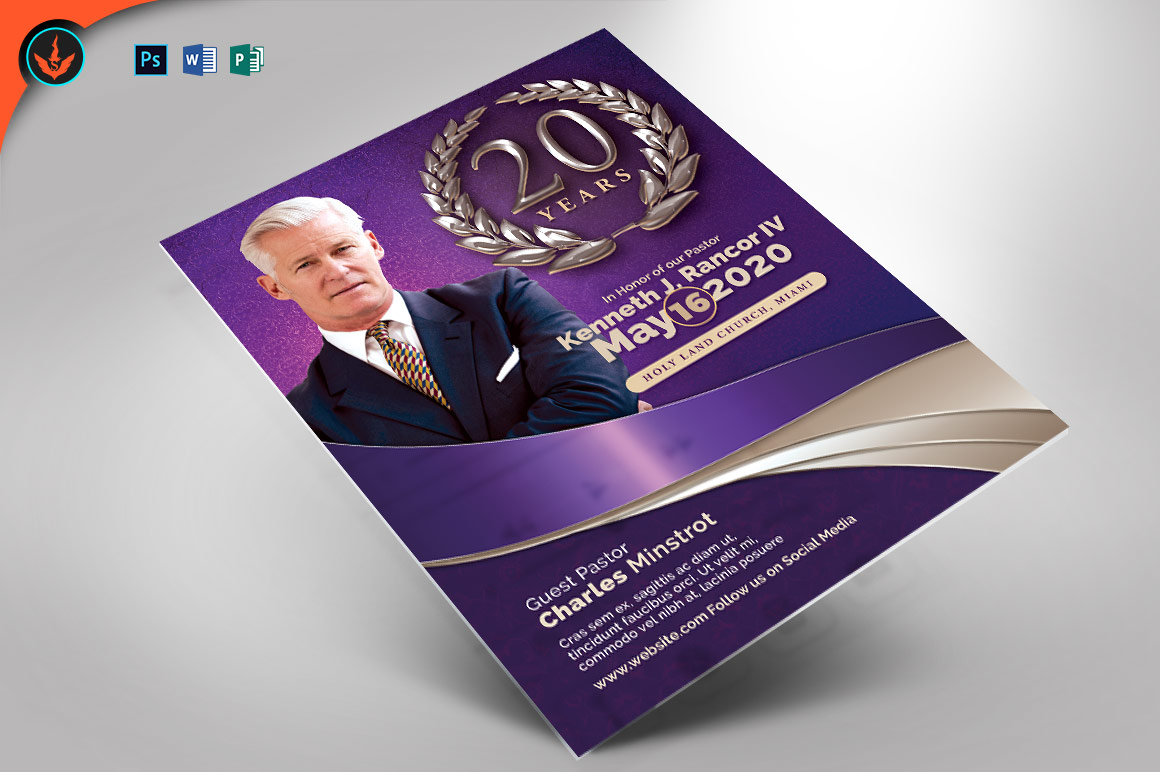 Lavender Pastor's Anniversary Church Flyer Template example image 1