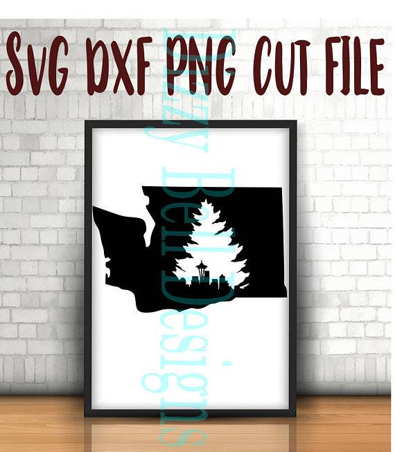 WASHINGTON State Seattle Skyline & Evergreen Tree SVG example image 1