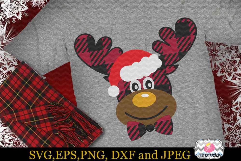 2 Styles Christmas Santa Buffalo Plaid Moose Set example image 3