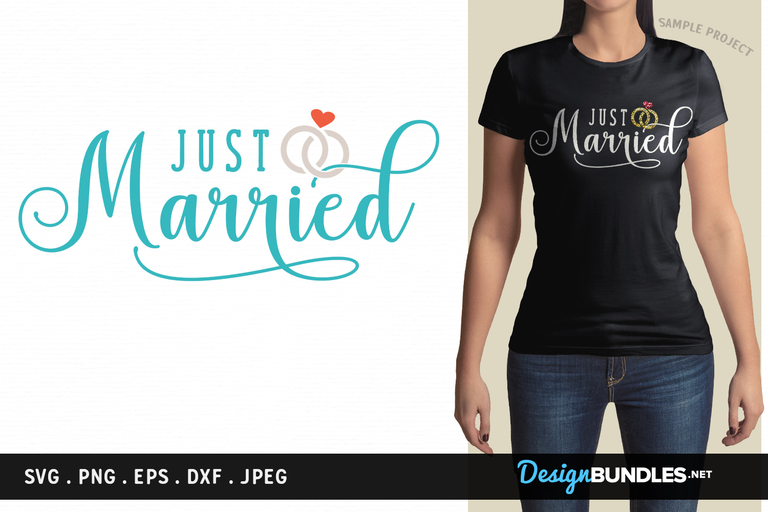 Just Married - svg cut file, printable example image 1