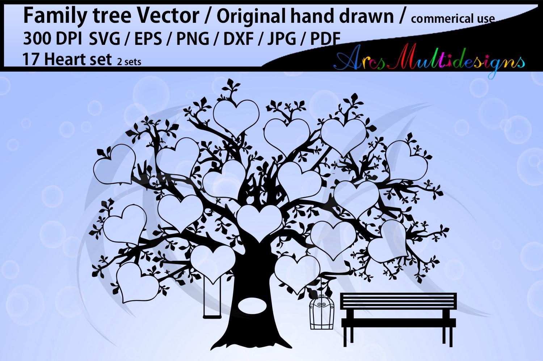 17 Hearts Family Tree SVG example image 2