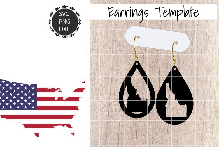 Earrings Template - Idaho Teardrop Earrings Svg example image 1