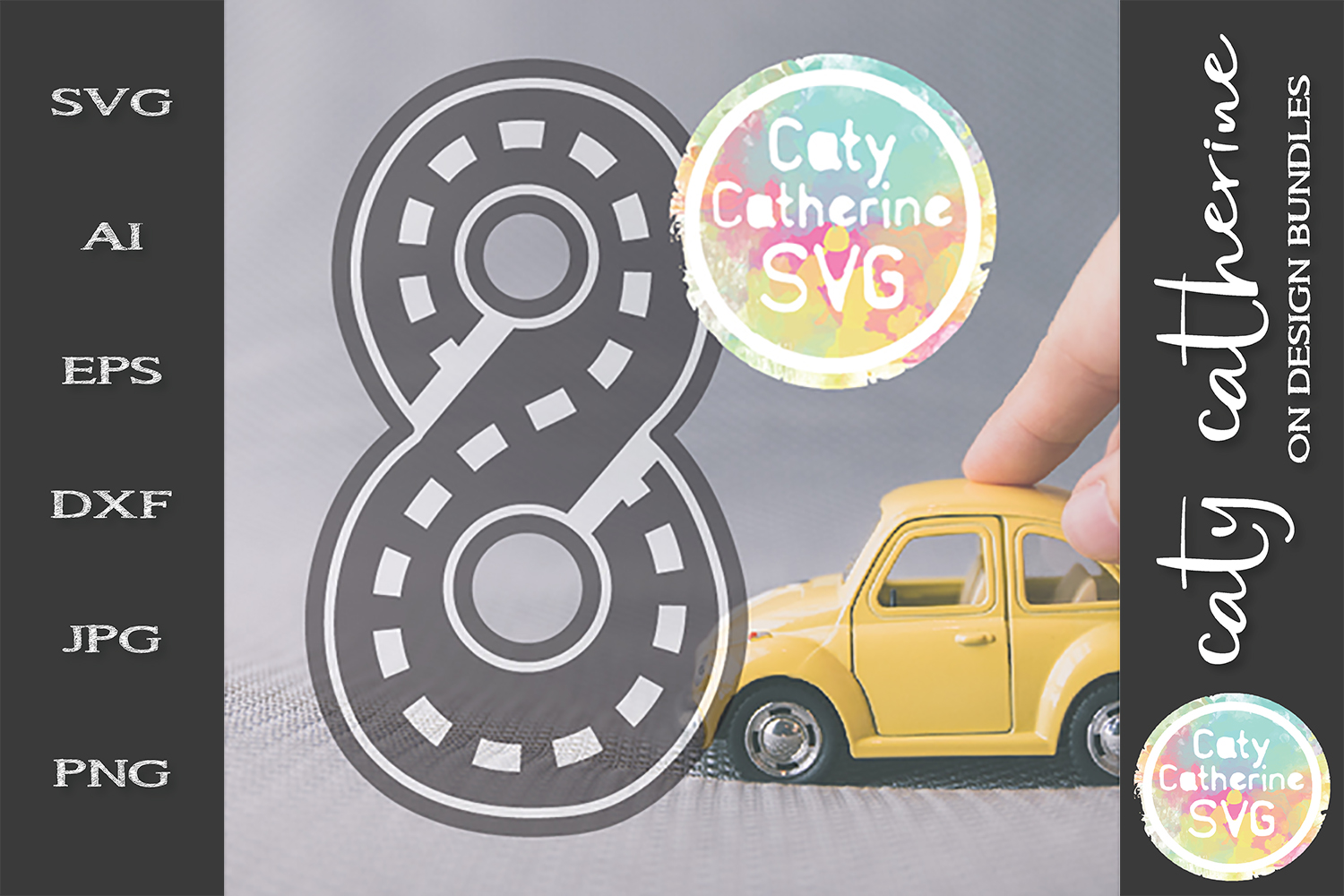 Road Map Kids Birthday Number eight SVG Cut File example image 1