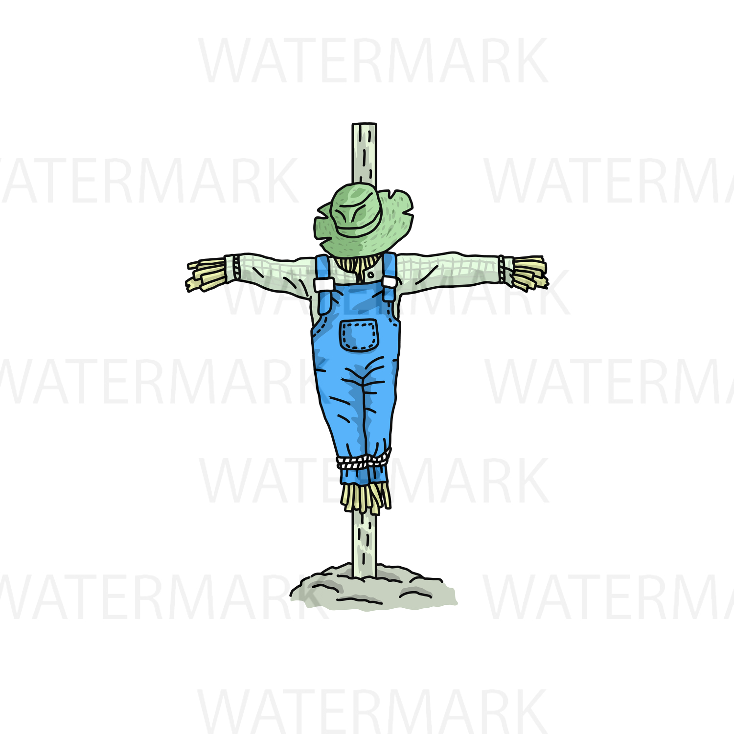 Scarecrow - SVG/JPG/PNG - Hand Drawing example image 1