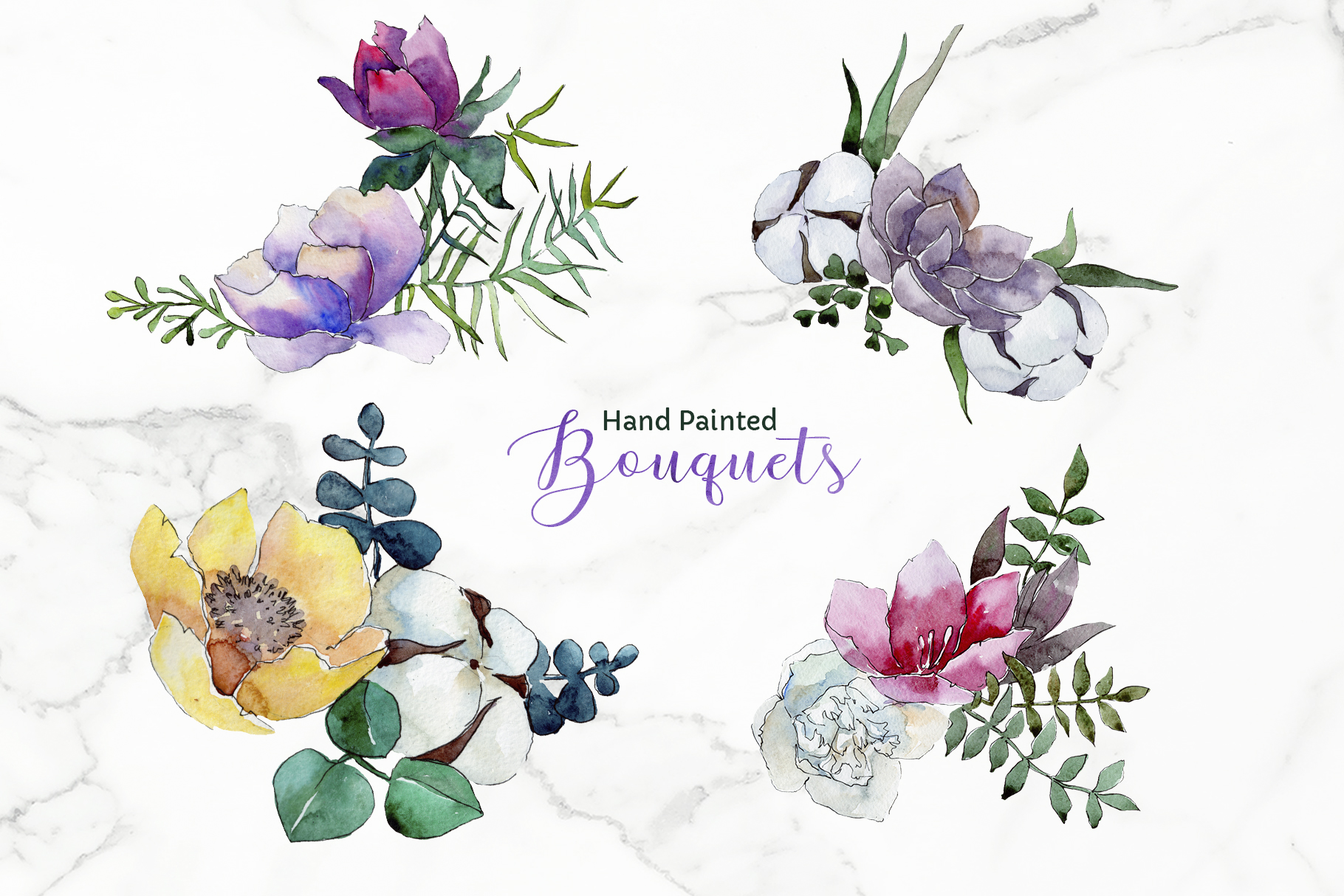 Bouquet of flowers Vienna Waltz Watercolor background PNG example image 2