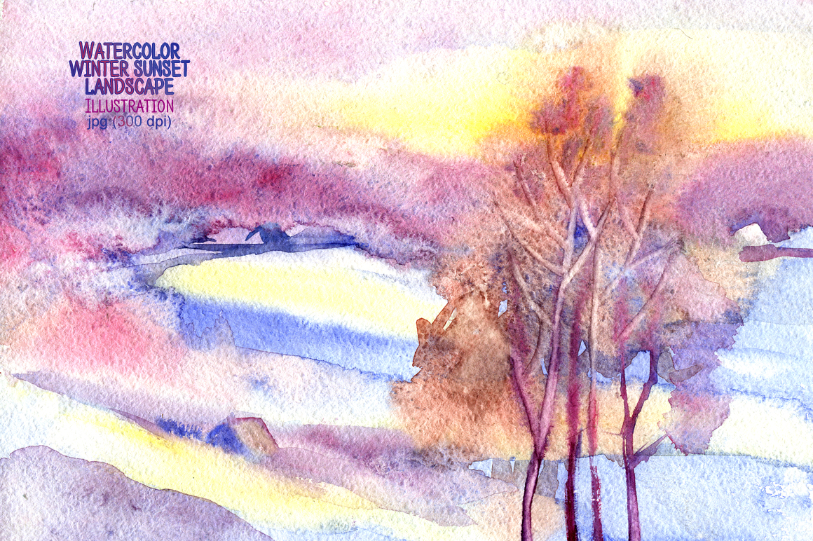 Watercolor winter sunset landscape example image 1