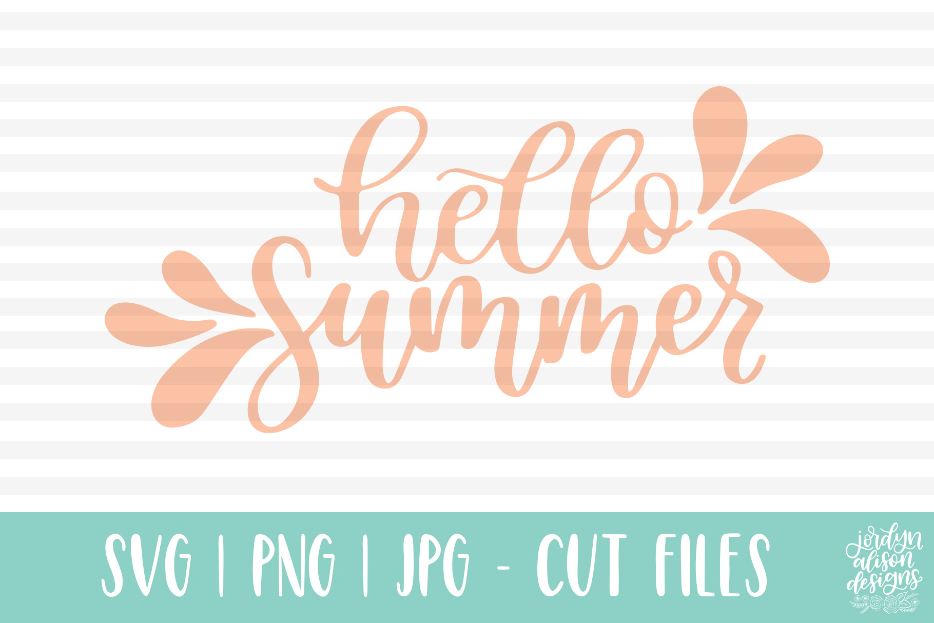 Hello Summer, Hand Lettered SVG Cut File example image 2