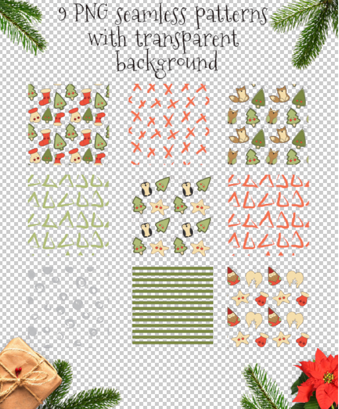 Christmas toys Hand drawn decorative Set example image 7