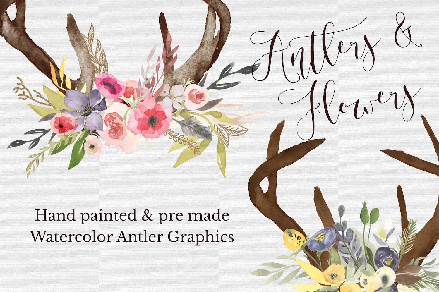 Hand painted Antler Clipart Set example image 2
