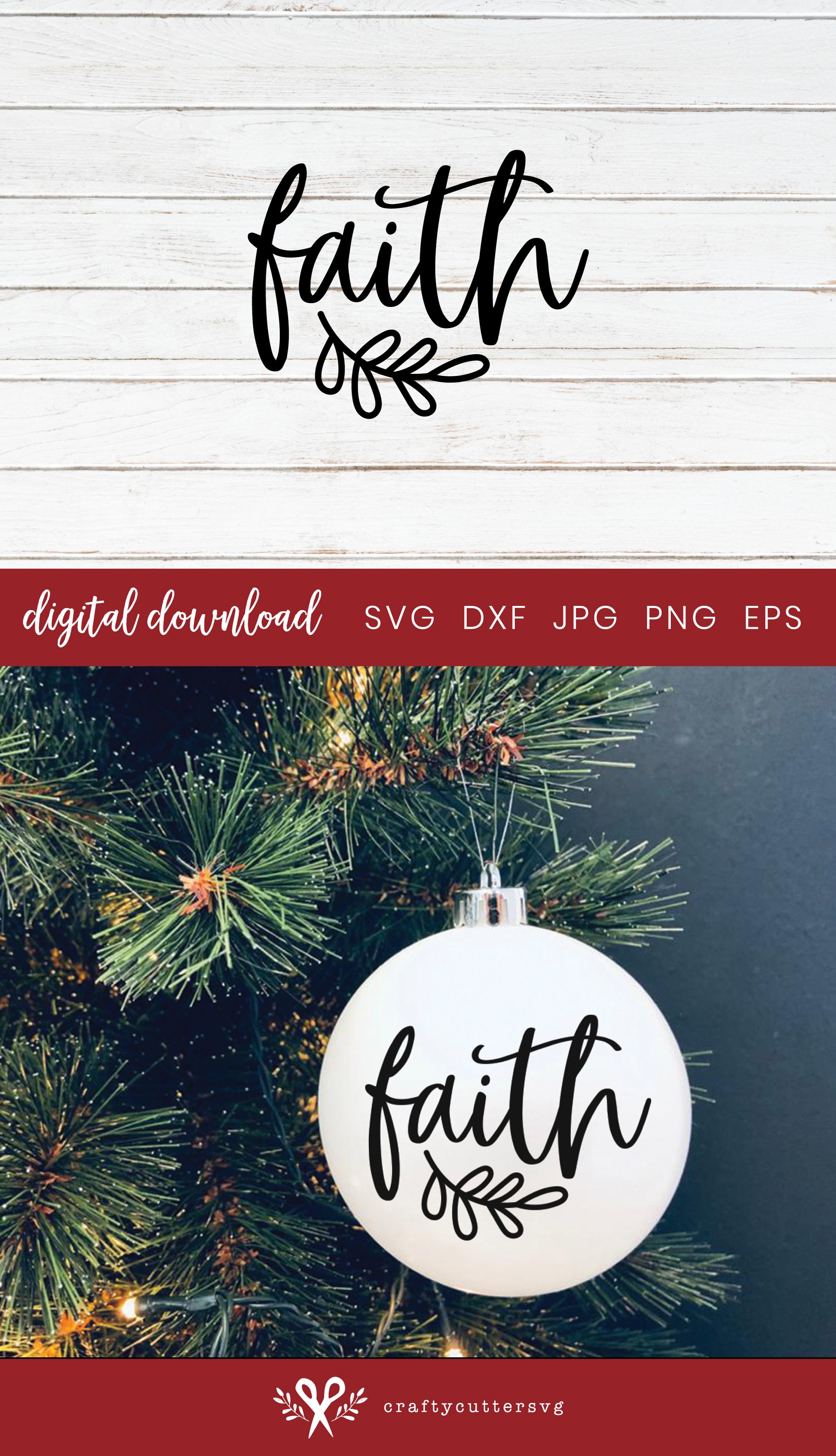 Christmas Ornament Faith Svg Cut File Bell Clipart example image 3