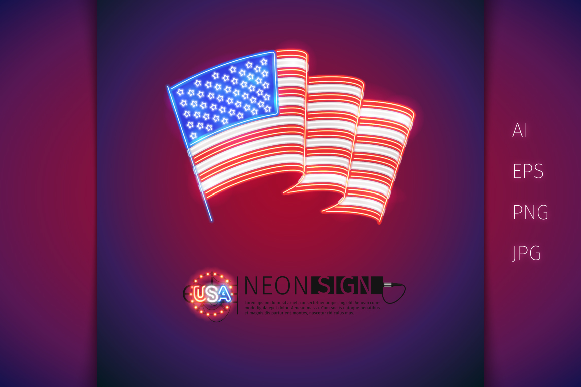 Glowing Neon USA Flags Set example image 3