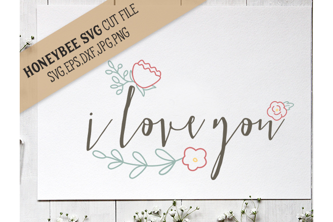 I Love You Simple Floral example image 1