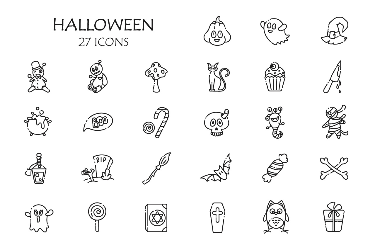 Outline funny Halloween symbols example image 2