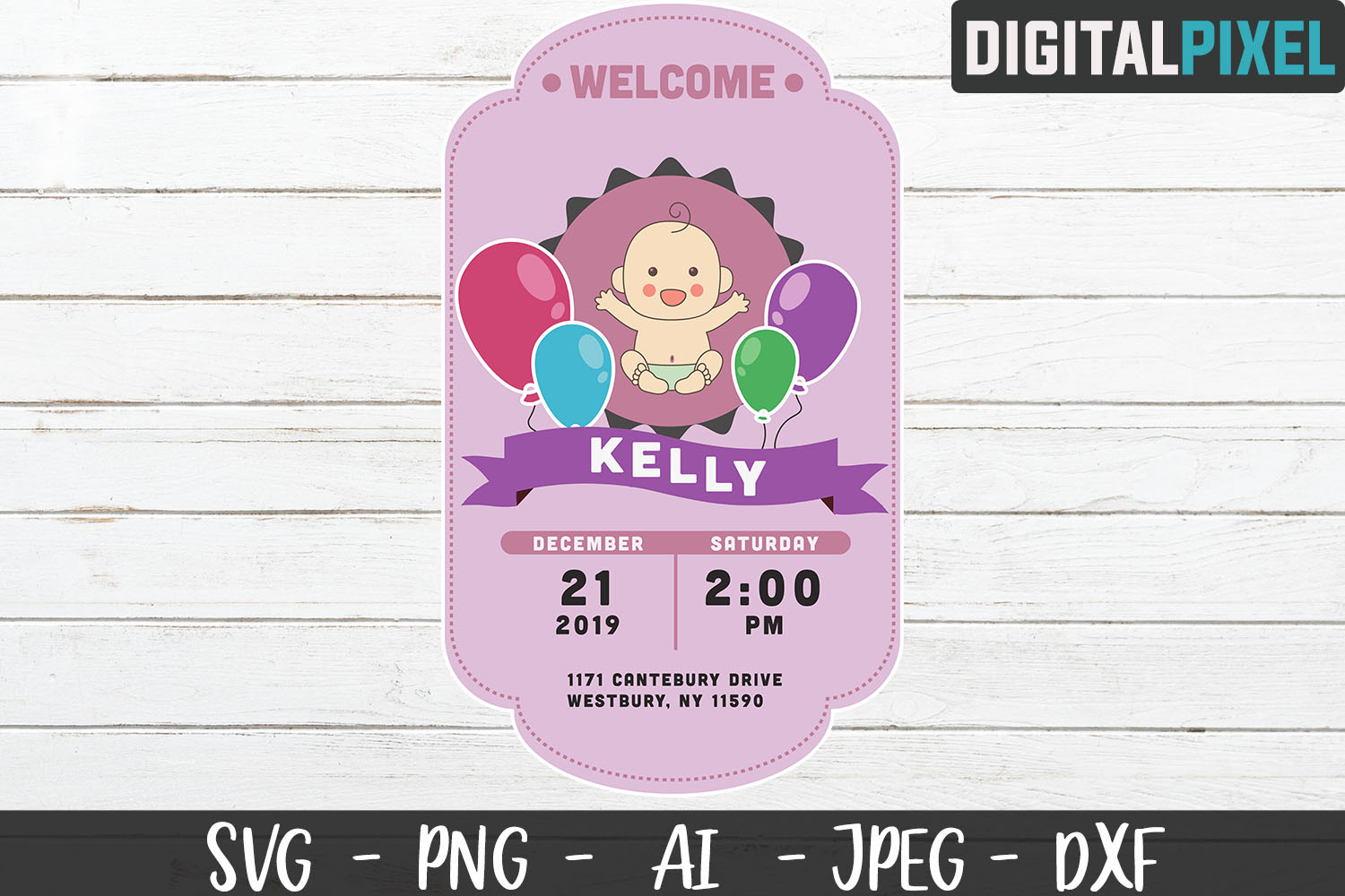 Baby Shower SVG PNG JPEG DXF Crafters SVG - Baby Birth example image 3