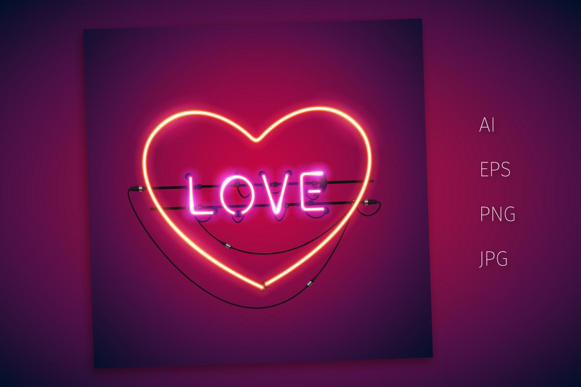 Happy Valentine S Day Neon Set