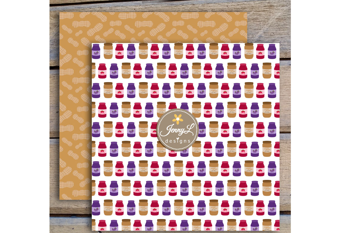 Peanut Butter and Jelly Digital Papers and Jam Clipart example image 3
