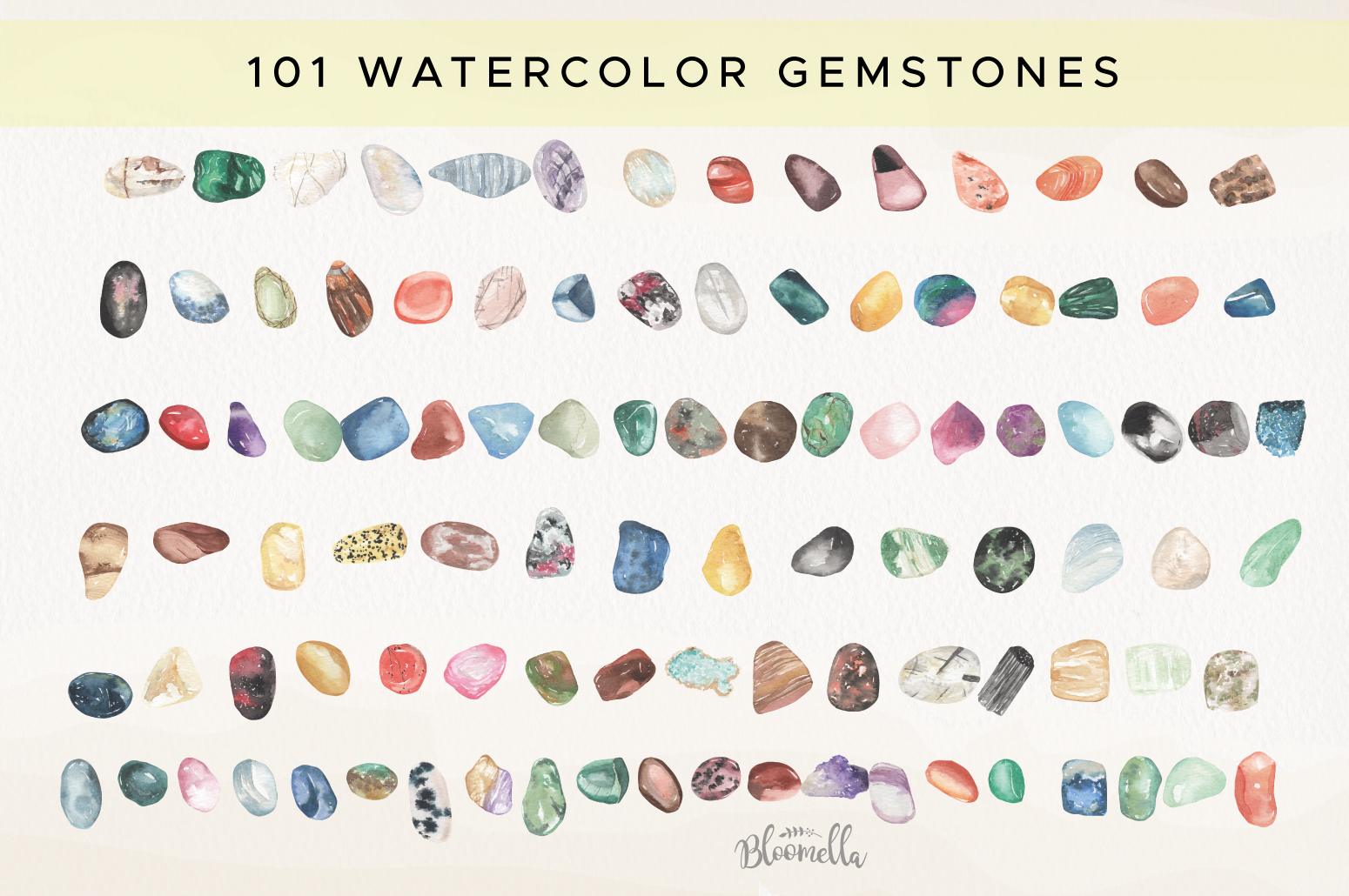 101 Gemstones Collection Watercolor Clipart ElementsCrystals example image 6