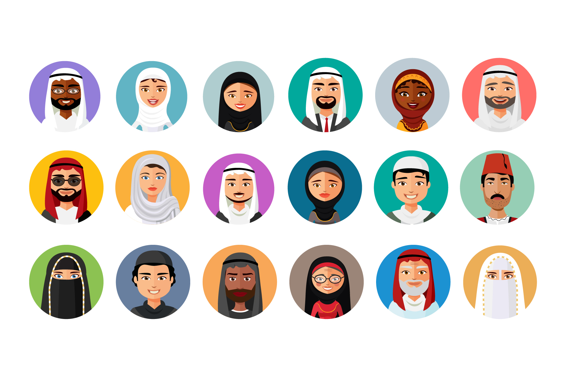 18 Flat & Middle Eastern Avatars example image 2