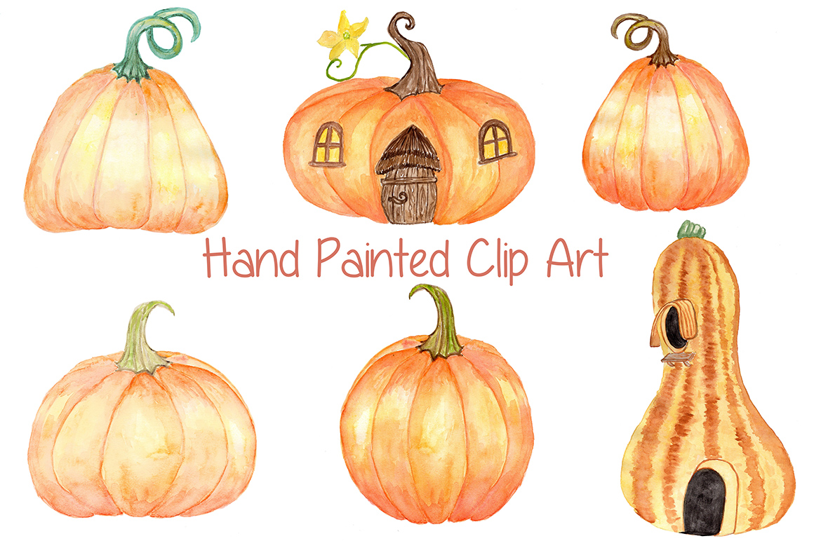 Watercolor pumpkin clipart example image 2