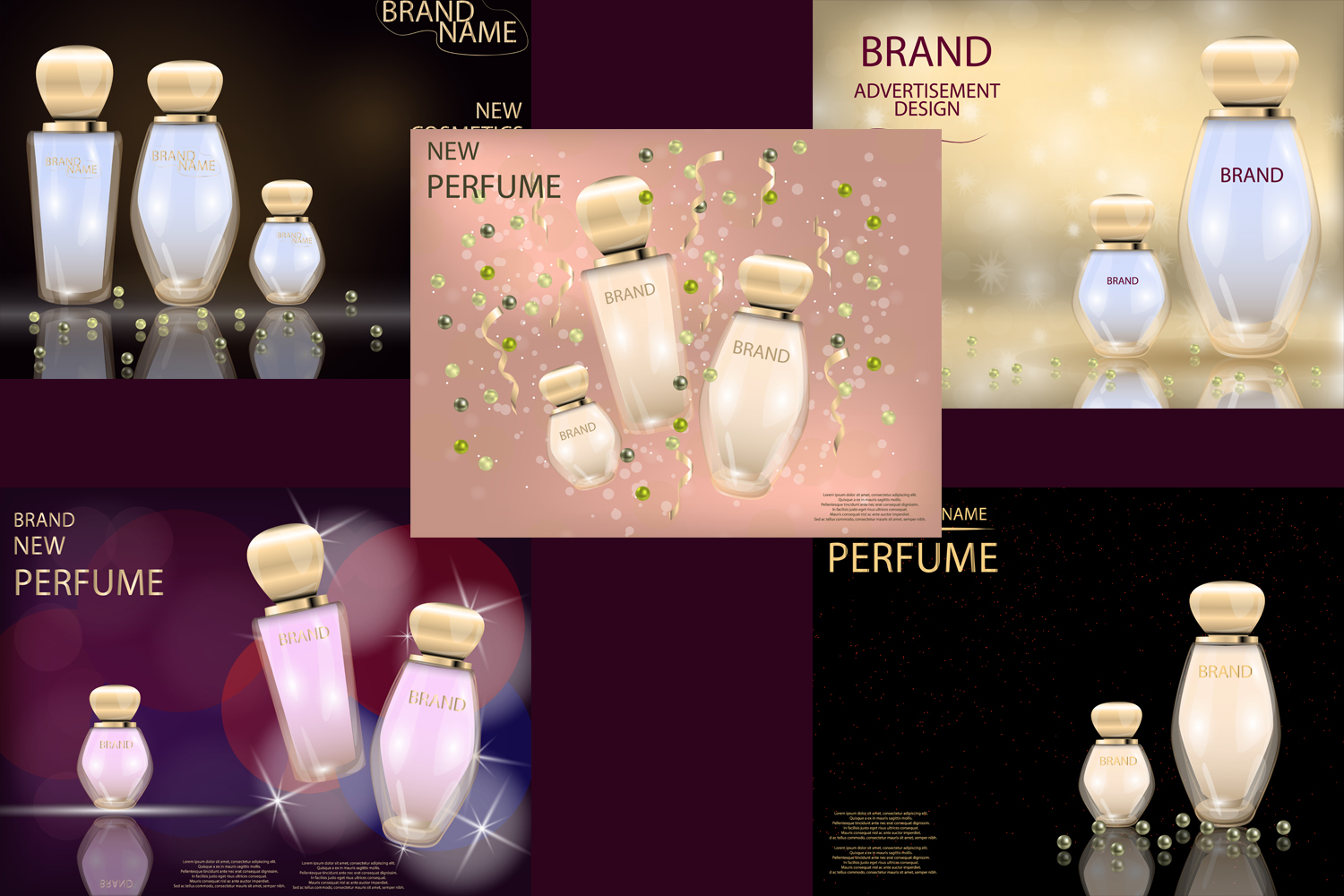 Glamorous Perfume Glass Bottles  Mock-up, 3D Realistic Vector Illustration, Template example image 2