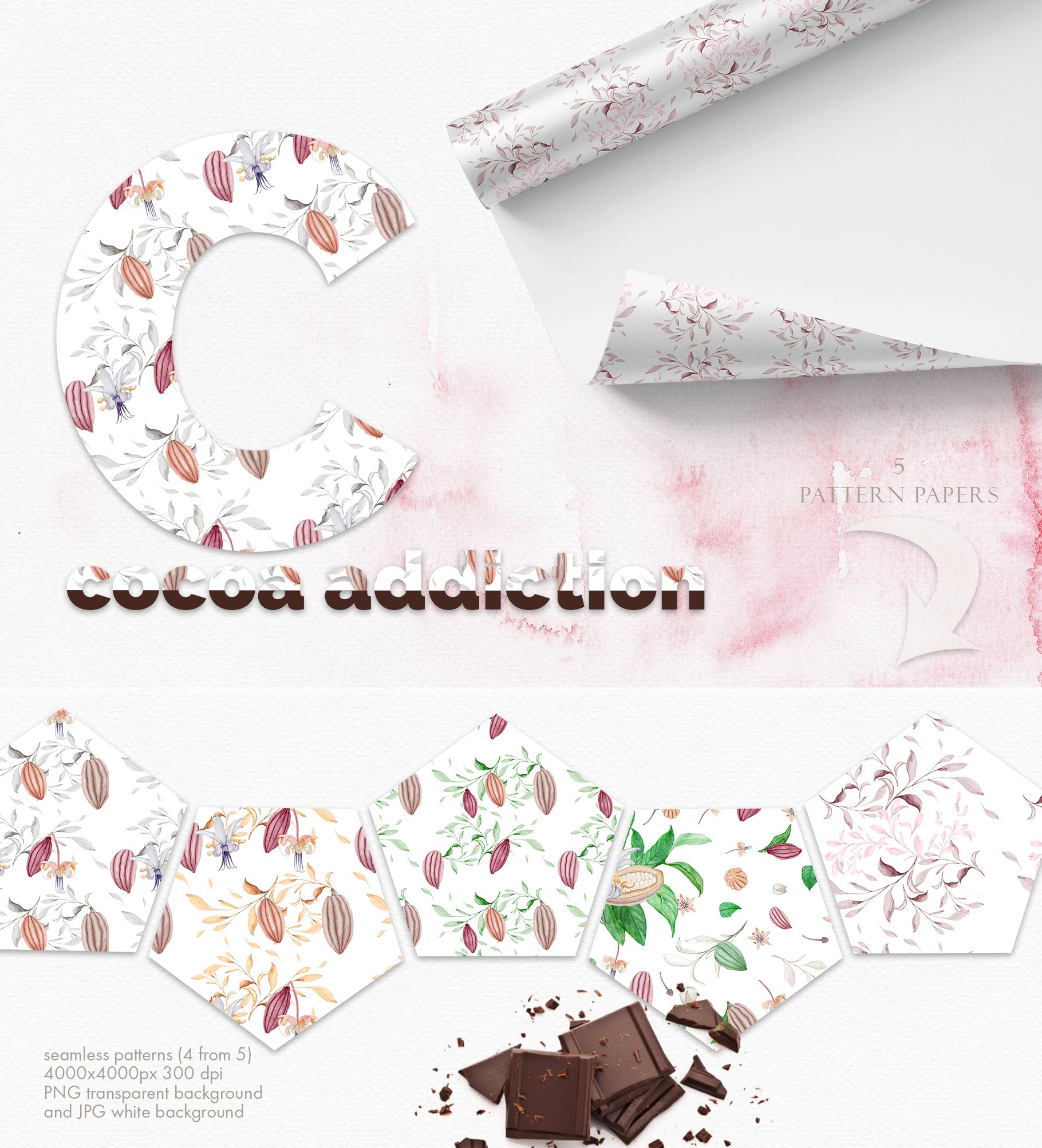 Wonderful Cocoa - Watercolor Clipart Set example image 14