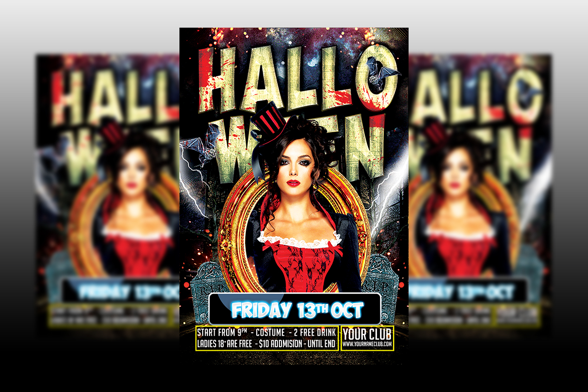 Halloween party flyer templates example image 1
