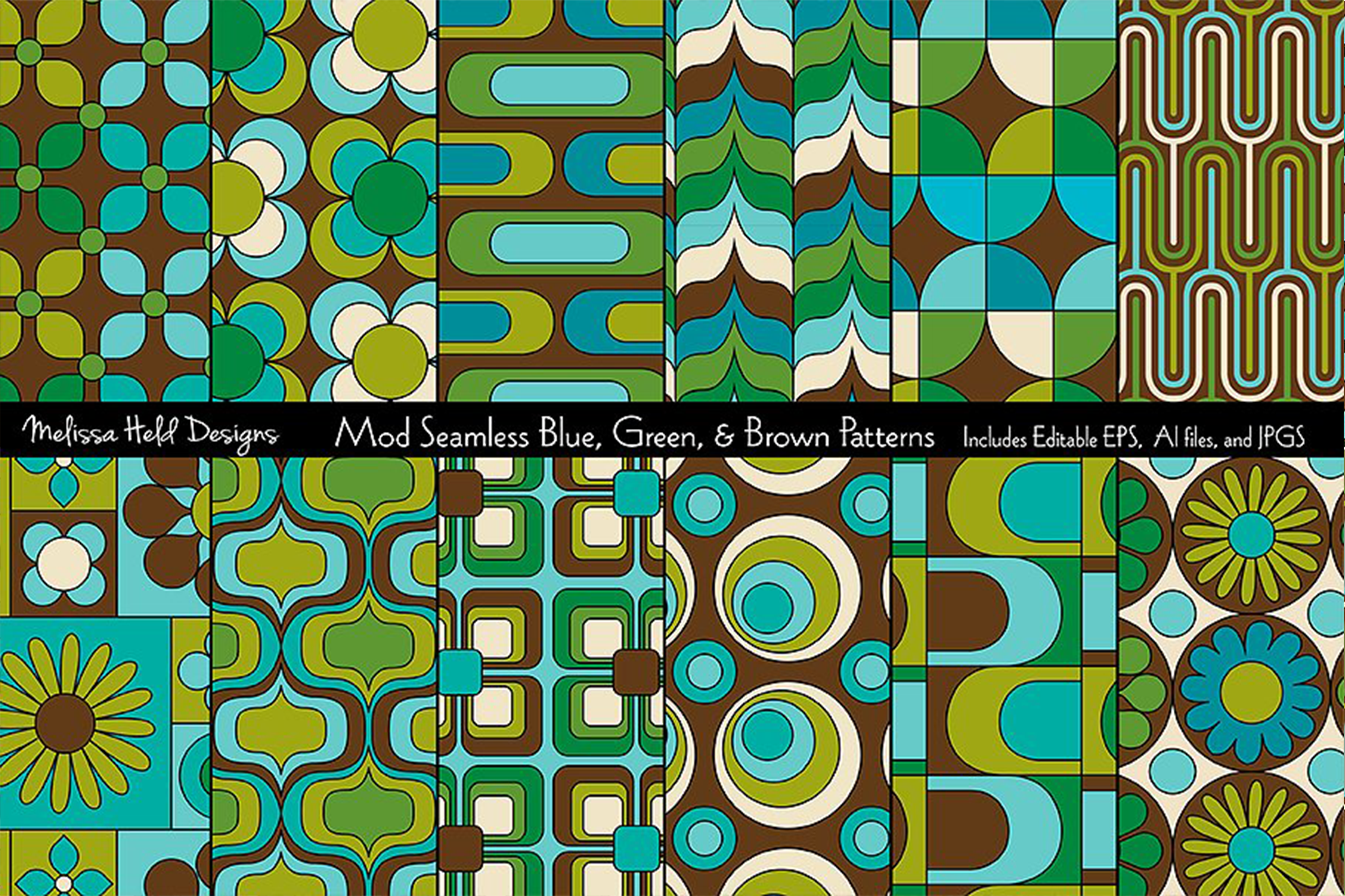 Mod Blue & Green Seamless Patterns example image 1
