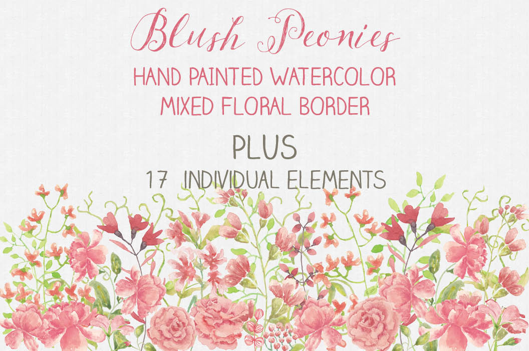 Border of blush Peonies, plus elements example image 1