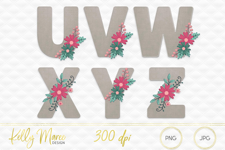 Canvas & Floral Alphabet Graphic Bundle example image 4