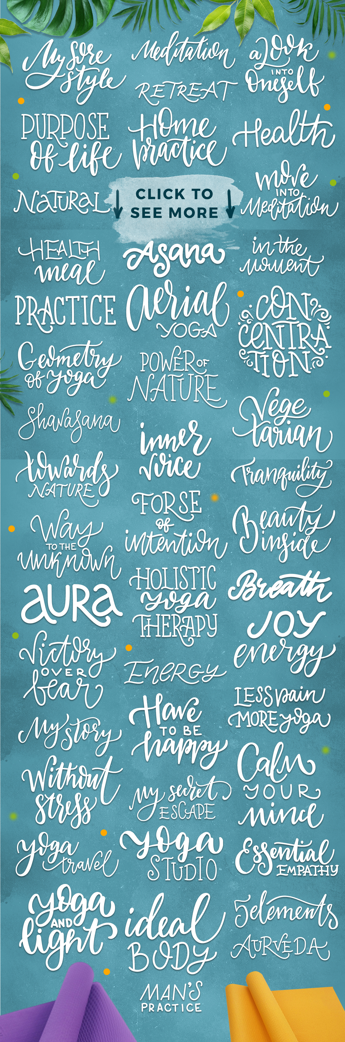 Yoga studio lettering & graphic set example image 4