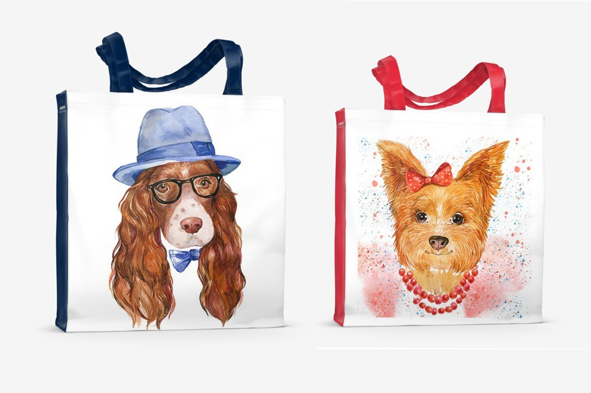 watercolor , cute dogs example image 2