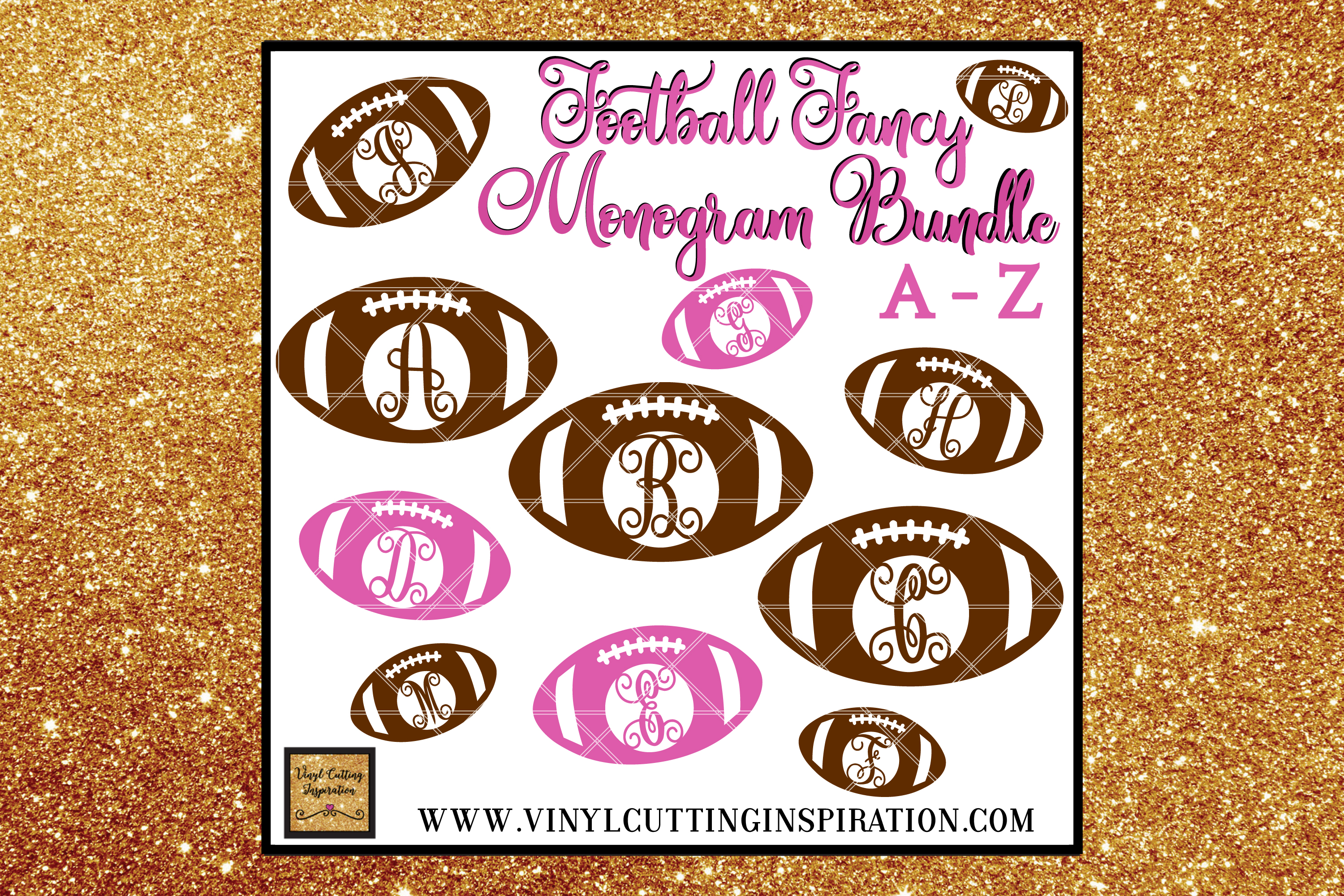 Football Svg, Monogram, Bundle, svg, dxf, football monogram example image 1