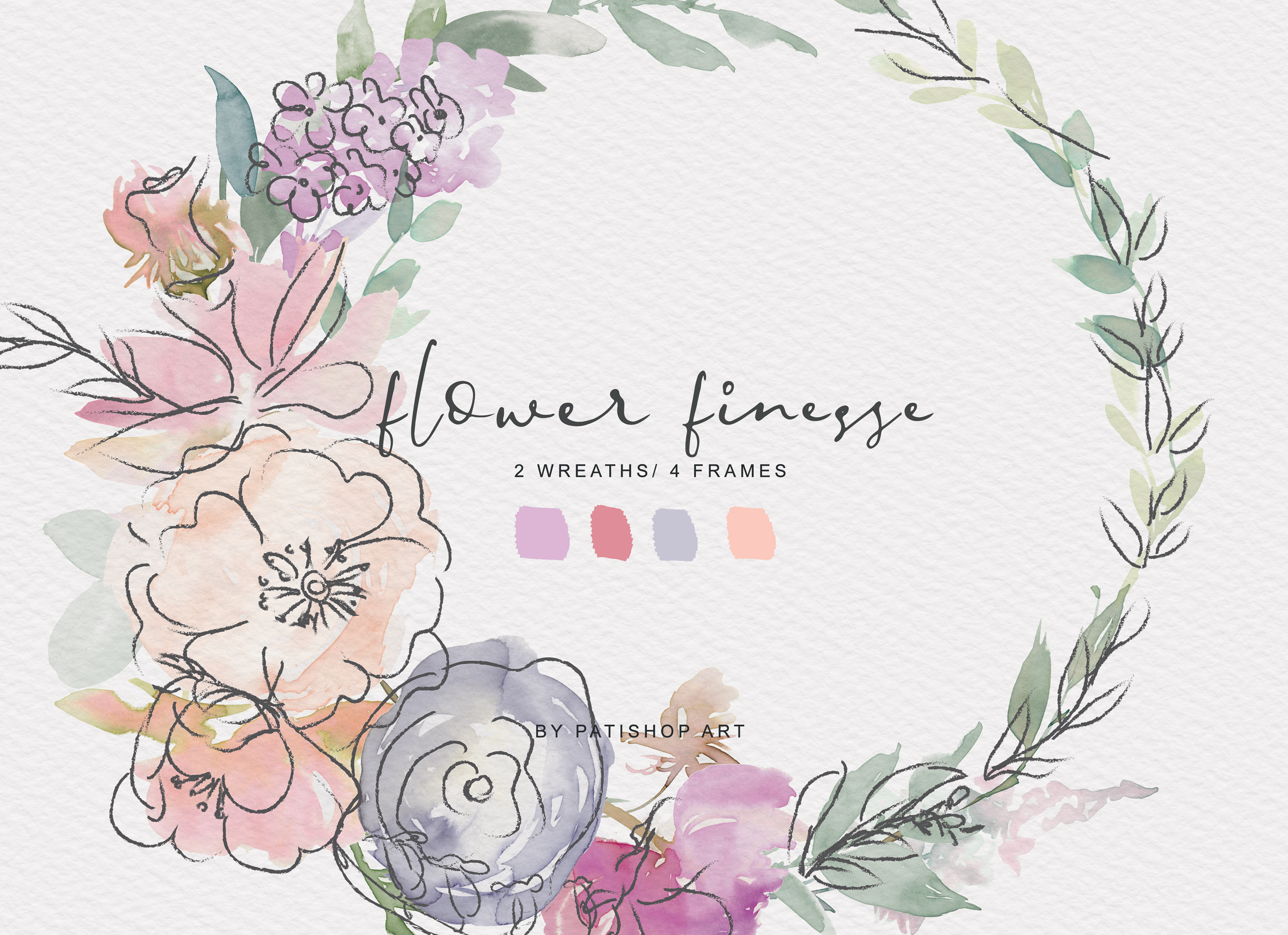 Watercolor Pastels Flowers Clipart Flower Doodles Set example image 11