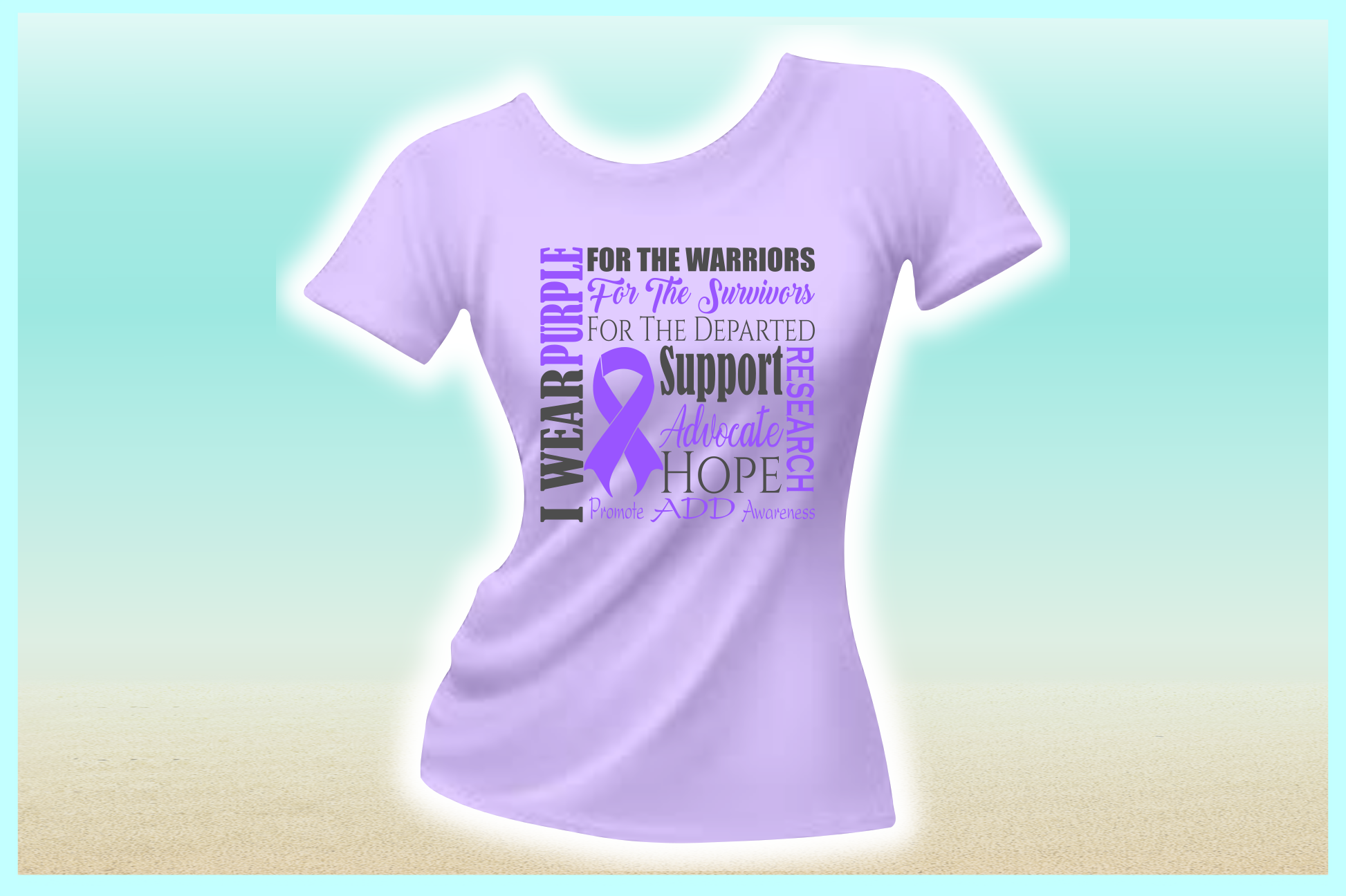 I WEAR PURPLE ADD ADHD Awareness SVG DXF EPS PNG PDF files example image 2