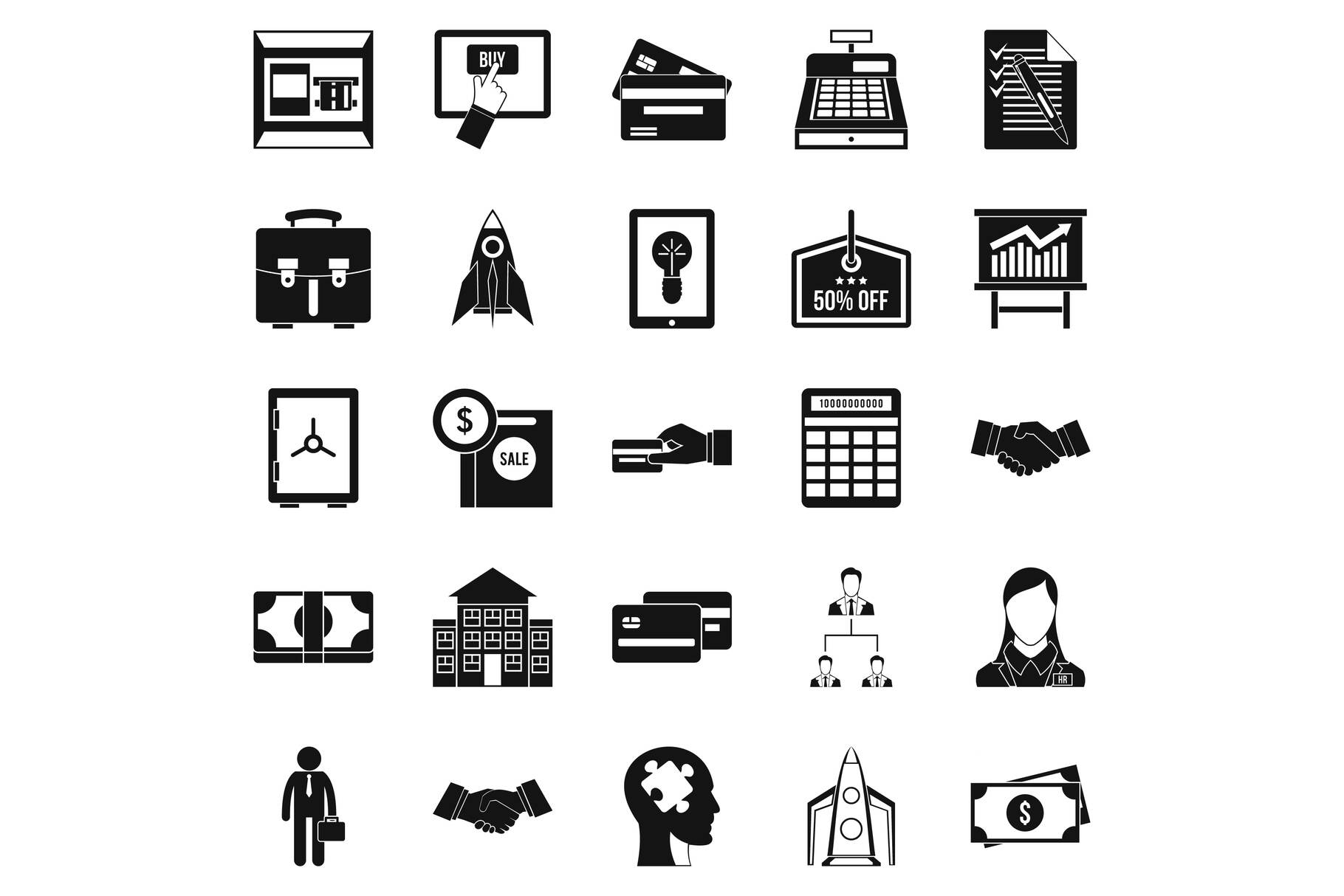 SEO development icons set, simple style example image 1