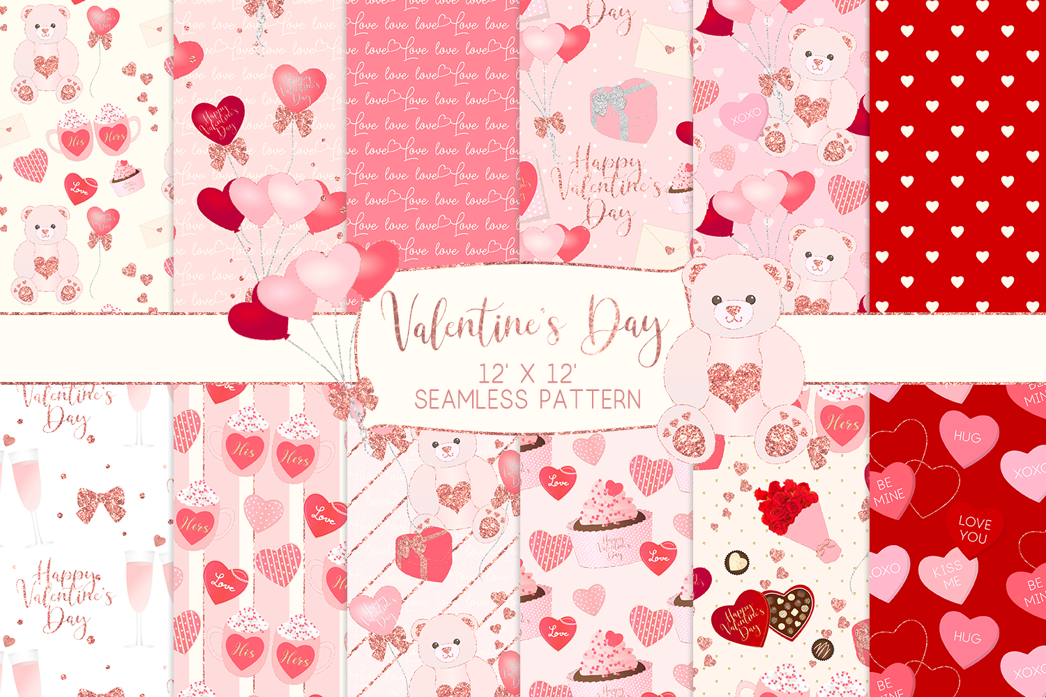 Valentine's Day Seamless Pattern Digital Papers example image 1