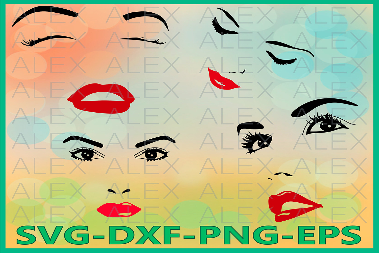 Woman face svg, Eyelashes SVG, Eyebrows Svg, Woman Eyelashes example image 1