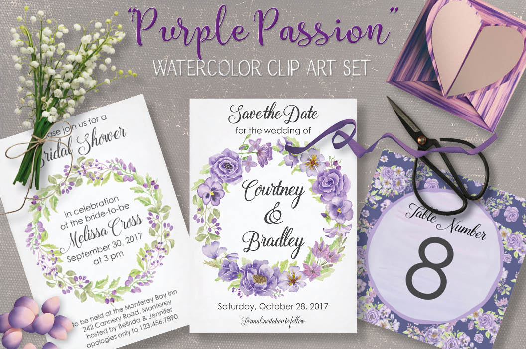 Watercolor clip art bundle: 'Purple Passion' example image 1