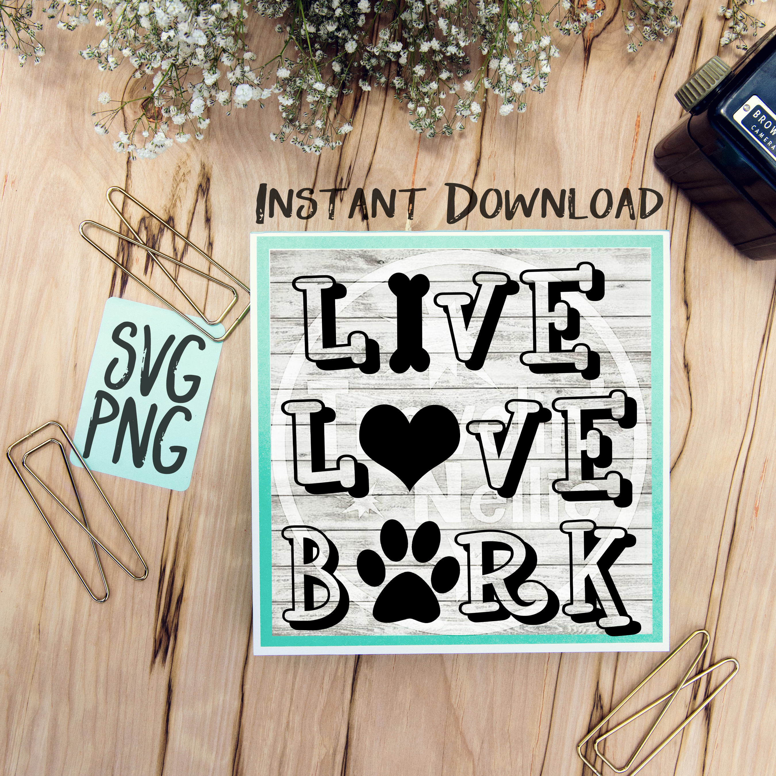 Live Love Bark SVG PNG Image Design for Vinyl Cutters Print DIY Shirt Design Brother Cricut Cameo Cutout  example image 1