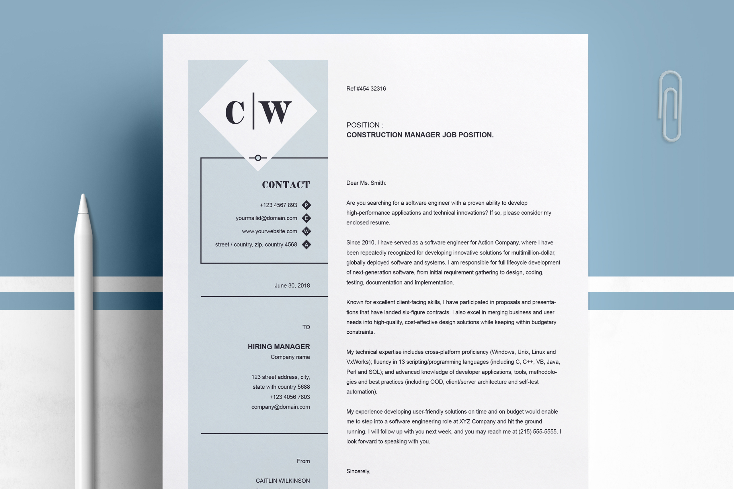 Professional Resume Template | MS Word, PSD, EPS example image 3