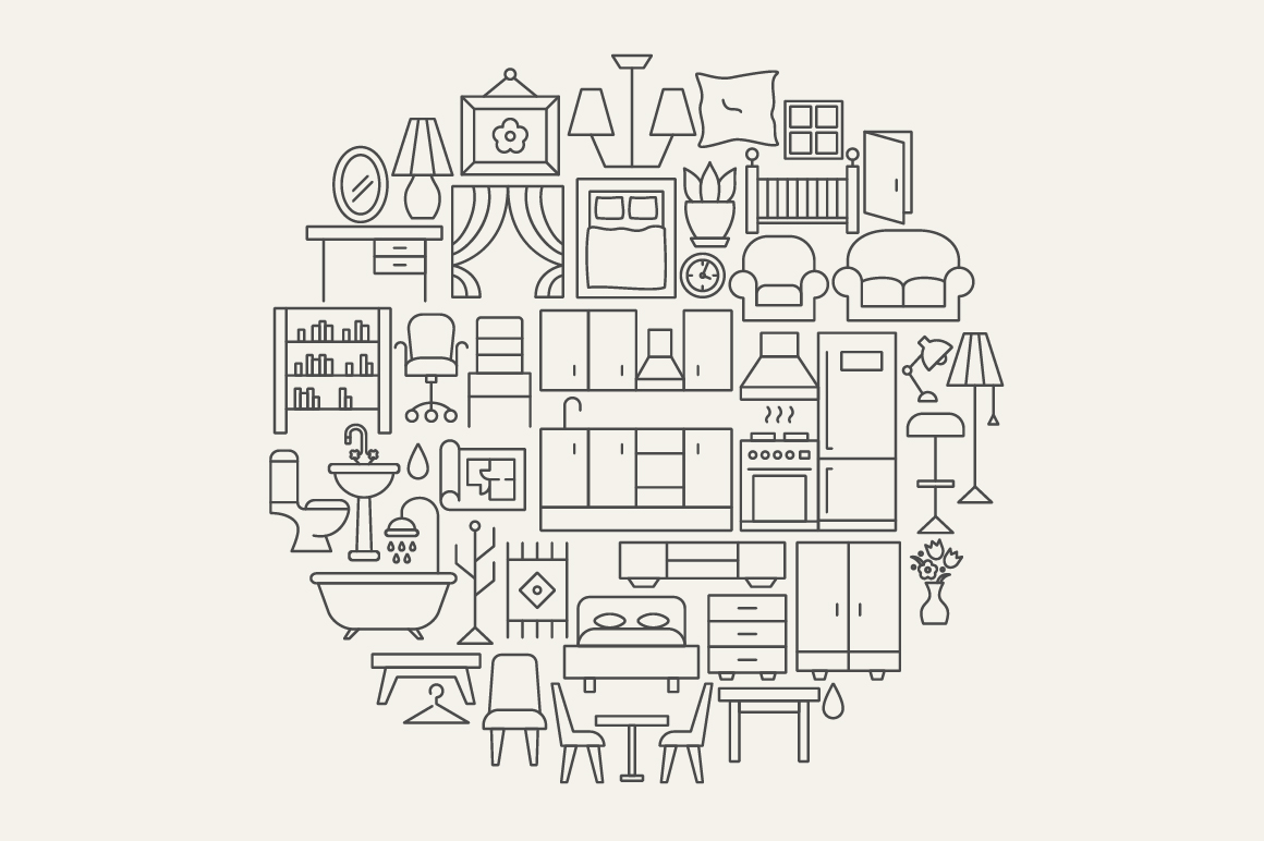 Furniture Line Art Icons example image 5