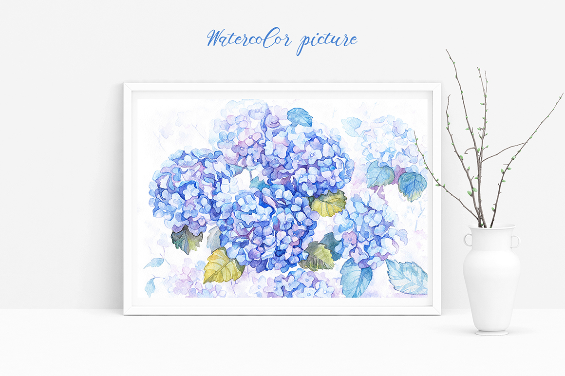 Hydrangea Watercolor Flowers example image 3