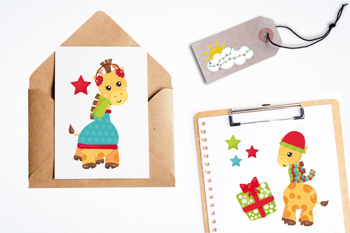 Christmas Giraffes graphics and illustrations example image 4