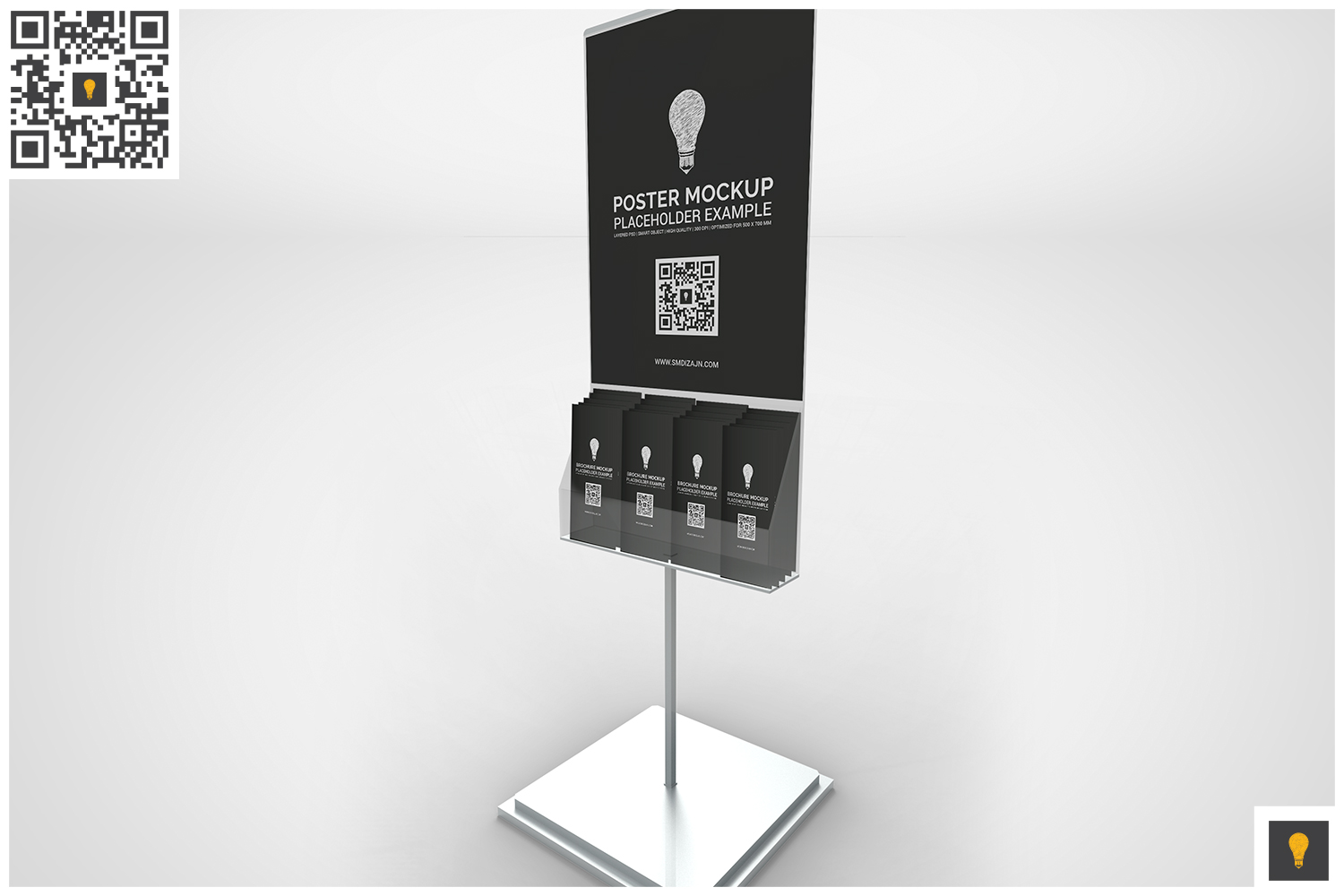 Poster Stand with Brochure Rack Mockup example image 2
