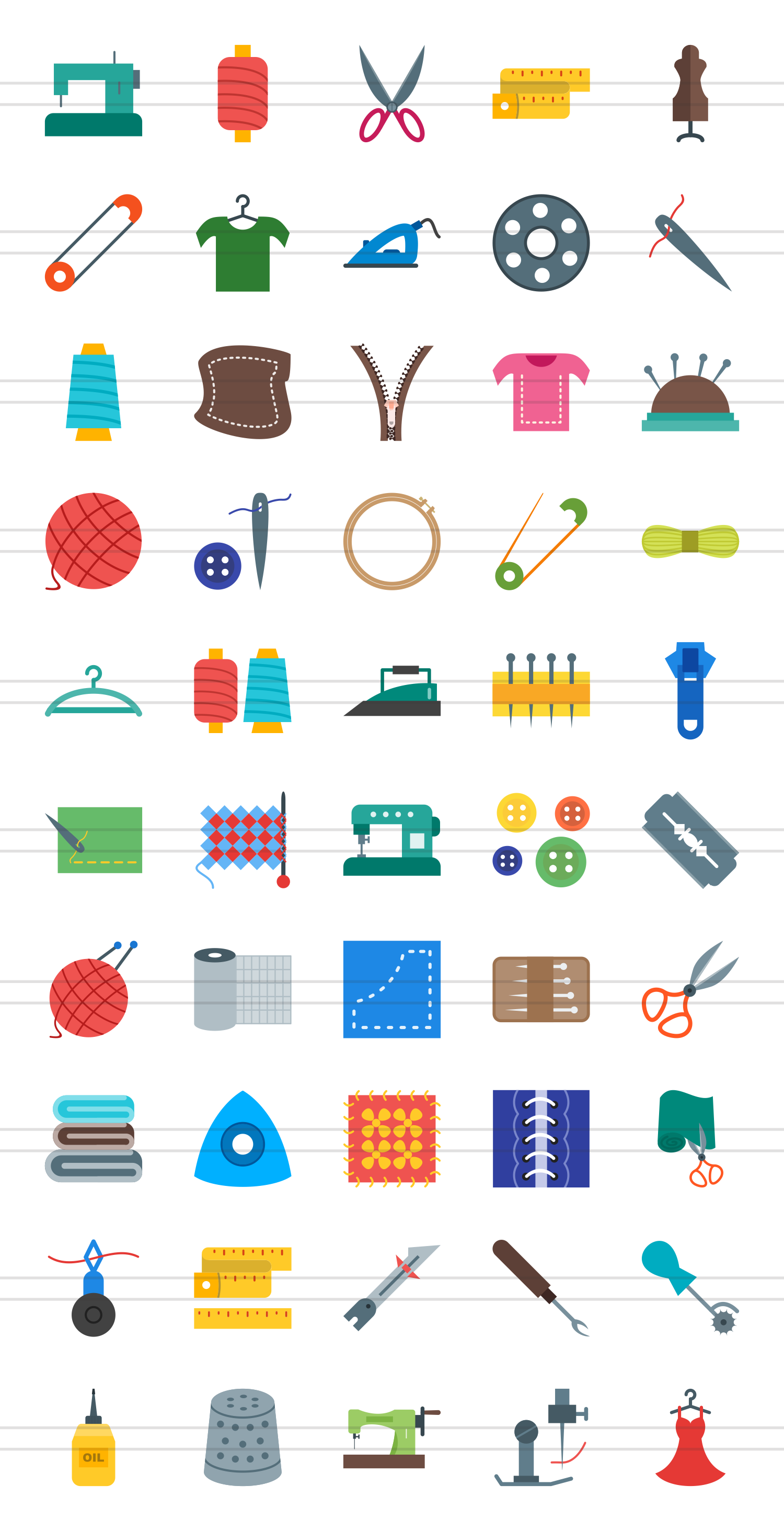 50 Sewing Flat Multicolor Icons example image 2