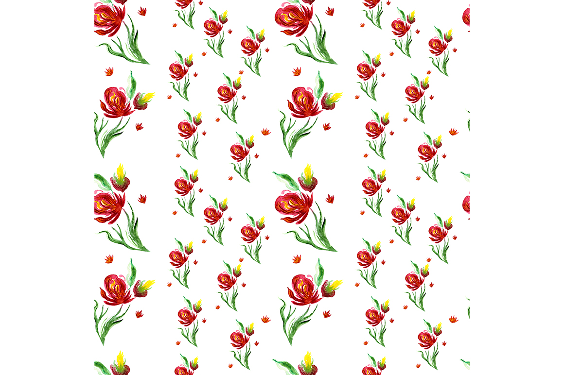 Seamless pattern with summer flowers. example image 1