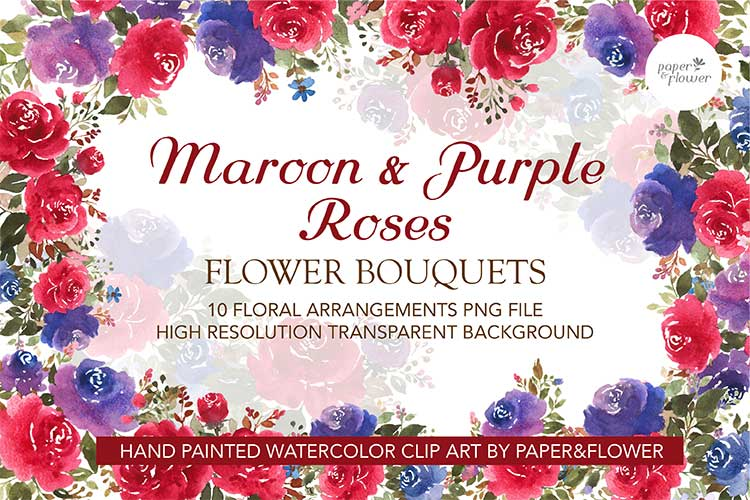 Maroon Rose Floral Watercolor Bouquet Set example image 1